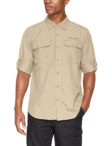 Columbia Camisa de Excursionismo de Manga Larga para Hombre, Silver Ridge II Long Sleeve Shirt, Beige (Fossil), L