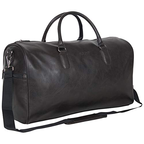 """Kenneth Cole Reaction Port Stanley 20"""" Pebbled Vegan Leather Carry-On Duffel/Travel Duffle Bag, Brown, Dome"""