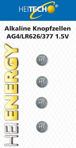 HEITECH 4er Pack AG4 Alkaline Knopfzellen Batterie 1,5V - LR66 / L626 / LR626 / SR66 / SR626 / SR626SW / 177/377 - Knopfbatterien auslaufsicher & mit Langer Haltbarkeit