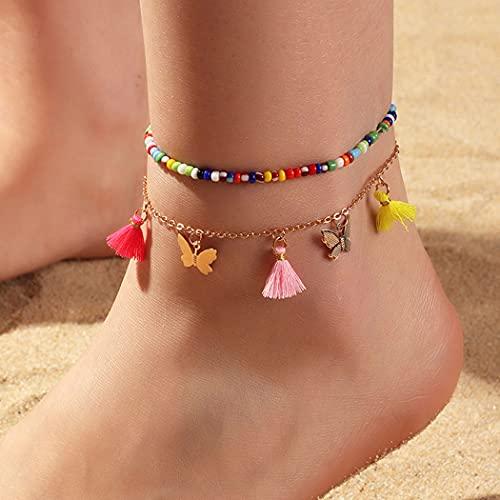 Ushiny Tobilleras con cuentas bohemias con borla de colores, tobilleras de mariposa, para verano, playa, pies, cadena para mujeres y niñas (2 unidades)