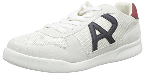 Armani Jeans Shoes & Bags DE Herren C651541 Sneakers, Weiß (Bianco - White F1), 46 EU