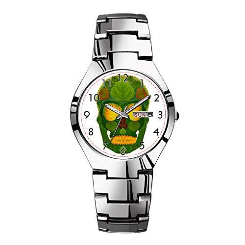 Fashion Full Steel Steel Round Christmas Watchs Couple Minimalist Watch Complete Calendar Luminous Hands Japan Luxury Brand Top Aspen Leaf Skull 9 Watches -  WYFC, wugangwa-092