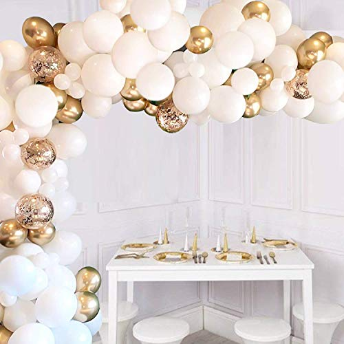 JOYYPOP White Balloon Garland Kit, 110 Pcs White and Gold Balloons Arch White Balloons Gold Confetti Balloons Metallic Balloons Decorations Set, Balloons Garland Arch Kits for Wedding Decoration Baby Shower Decorations for Girl Boy