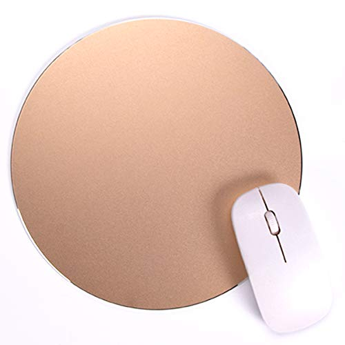Round Mouse Pad LoiStu Round Aluminum Alloy Mouse Pad Winter and Summer Dual-Use Waterproof Antiski Matte Metal / High-Grade PU Leather Mouse Pad (Gold)