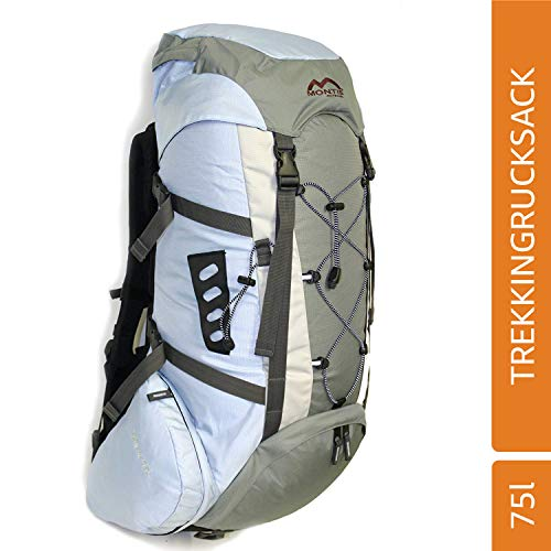 MONTIS Salmon 75 Trekking-Rucksack, Wander-Rucksack & Reise-Rucksack in einem, ermöglicht Dank Regenschutz auch Kletter- & Campingtouren, im Militär-Rucksack Look mit viel Extras & Belüftungssystem