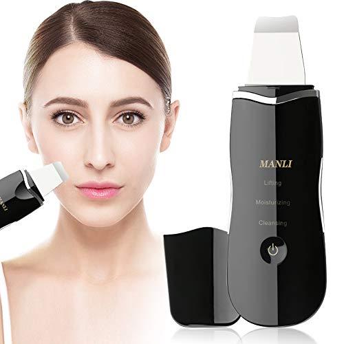 Máquina Peeling Ultrasonico, MANLI Limpiador Ultrasonico Masajeador Facial Espatula Cleaner Puntos Negros Limpieza Poros Face Scrubber Lifting Facial