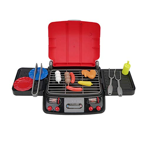 Kitchen Toys, Simulation Electric Grill, Skewers Toy Set, Play House Toys,with Light Sizzling Sounds and Smoke Kitchen Play,Red