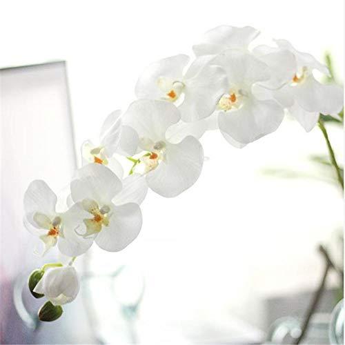 Künstliche Blume Künstlicher Schmetterling Phalaenopsis Latex Silicon Fake Flowers Big Orchid Orchidee Für Hochzeitsdekoration Länge: 96Cm 8Headswhite