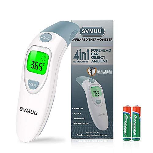 SVMUU Termómetro de oído y frente, termómetro digital infrarrojo para...