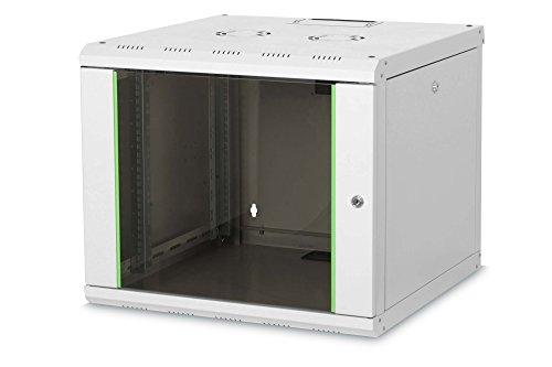 DIGITUS Netzwerk-Schrank 19 zoll 9 HE - Wandmontage - 600 mm Tiefe - Traglast 100 kg - Unique Serie - Glastür - Grau