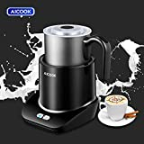 Milk Frother, AICOOK Electric Milk Warmer[3 Modes], Automatic Detachable foam maker, 10.24oz Stainless Steel Jug & Dishwasher-Safe, for Lattes, Cappuccinos, and Hot Chocolate