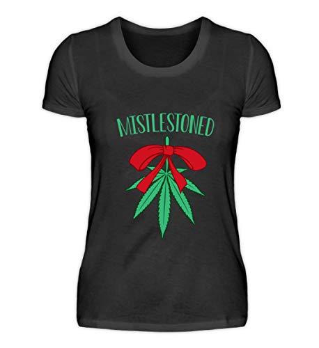 EBENBLATT Lustig Hanf Cannabis Weihnachten 2018 Gras Marihuana Weihnachtsbaum Geschenk Geschenkidee - Damenshirt -XXL-Schwarz