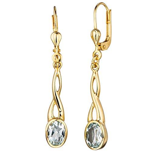 JOBO Boutons 585 Gold Gelbgold 2 Aquamarine Ohrringe Ohrhänger