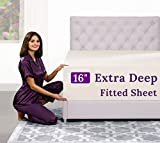 """Twin XL Fitted Sheet – Real [16-Inch] Extra Deep Pocket Twin XL Fitted Sheet Only – Perfectly–FIT Fitted Sheet for 14""""–18"""" Deep Mattress – Best Fit Bottom Extra Long Fitted Sheet – Ivory (Off White)"""