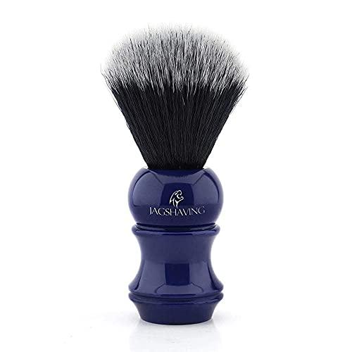 Cepillo de pelo sintético negro con mango de resina azul para hombre, suave