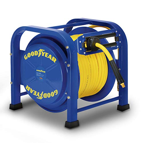 "GOODYEAR Air-Hose-Reel Retractable 3/8"" Inch x 100 Feet 300 Psi / 20 Bar Spring Driven Steel Elite Portable Quad Pod Heavy Duty Industrial Longest Premium Commercial Flex Hybrid Polymer"