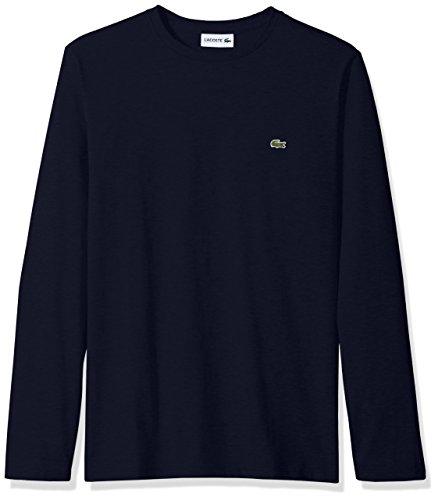 Lacoste Men's Long Sleeve Jersey Pima Regular Fit Crewneck T-Shirt, Navy Blue, M