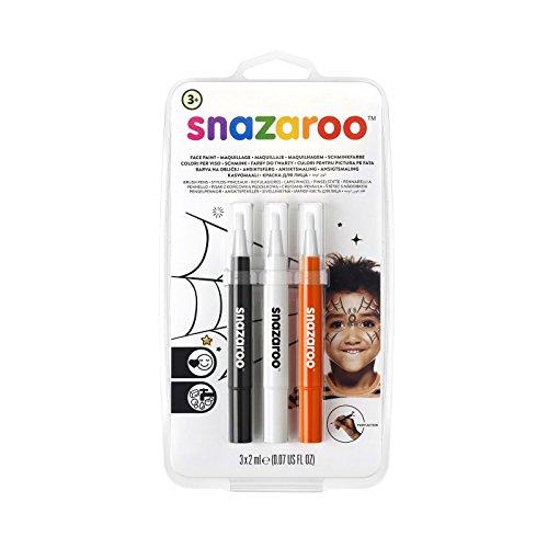 "Snazaroo Set de 3 Rotuladores de Maquillaje ""Halloween"", color negro, blanco, naranja , color/modelo surtido"