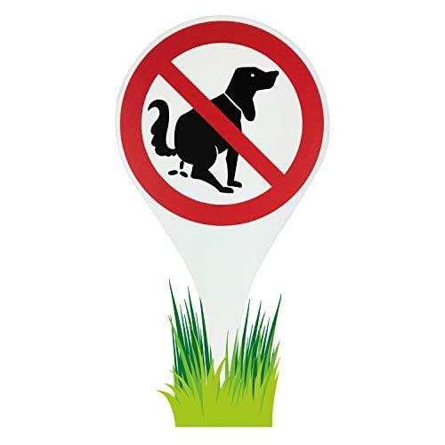 Betriebsausstattung24® Erdspieß Verbotszeichen Hier kein Hundeklo | Alu-Dibond | Hundekot | Hinweisschild 18,0 Ø x 33,5 cm | Wetterfestes Schild