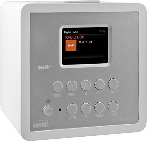 Imperial 22-272-00 d10 DAB+ und UKW Radiowecker (6,1cm TFT Farbdisplay, Snooze-Funktion, SleepTimer, Line-Out, Netzteil) weiss-silber