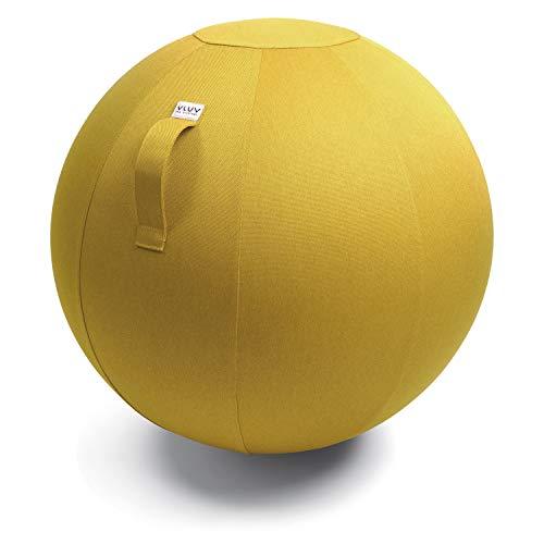 VLUV LEIV Stoff-Sitzball, ergonomisches Sitzmöbel für Büro und Zuhause, Farbe: Mustard (senfgelb), Ø 60cm - 65cm, Möbelbezugsstoff, robust und formstabil, mit Tragegriff