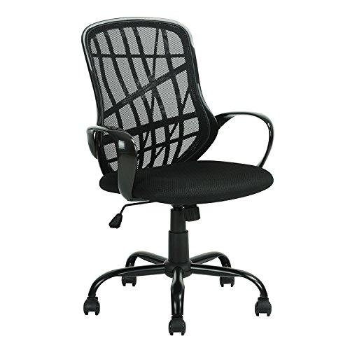 FurnitureR Silla ergonómica de Escritorio de Oficina Sillas de Trabajo giratorias de Malla Ajustable para el hogar con Asiento Acolchado y reposabrazos Negro
