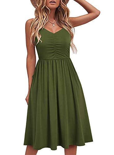 YATHON Women's Spaghetti Straps Party Sundress Casual Beach Summer Dresses (S, YT090-Army Green)