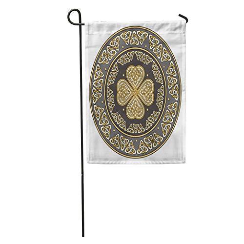 Semtomn Seasonal Garden Flags 28' x 40' Silver Shamrock Celtic Shield Decorated Ancient European Pattern White Clover Outdoor Decorative House Yard Flag