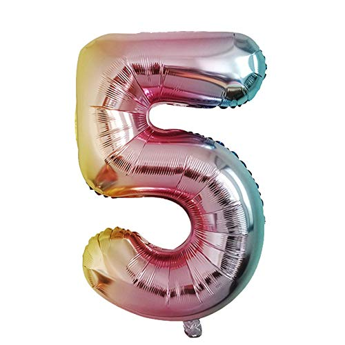 Janly Clearance Sale Home Decor, Number Foil Balloons Color Number Ballon Happy Birthday Party Decoration, for Christmas Home & Garden Decorate, (F)