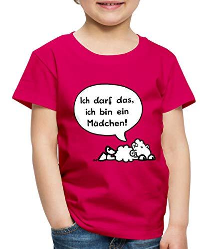 Sheepworld Ich darf das, ich Bin EIN Mädchen Kinder Premium T-Shirt, 98-104, Dunkles Pink