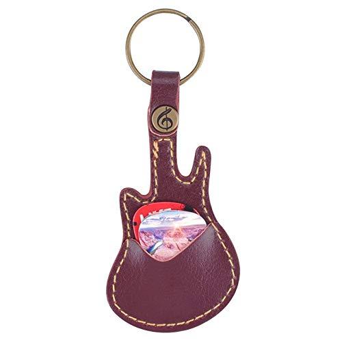 BianchiPamela Key Ring Leather Paddles Package Case Holder For Guitar Picks With 5 Paddles