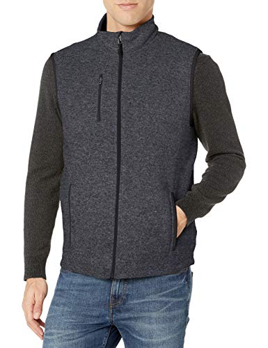 Charles River Apparel Men's Pacific Sweater Fleece Vest, Charcoal Heather, L