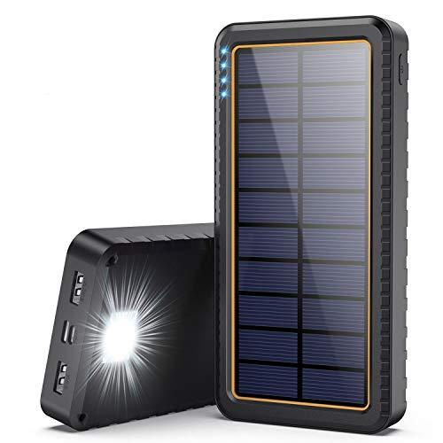 Yacikos Powerbank Solare,26800mAh Caricabatterie Solare Portatile [Intelligente Controllo IC] Caricatore Solare Batteria Esterna e Torcia LED SOS 2 Uscita USB, Antiurto,Antiscivolo, per Phone Tablets