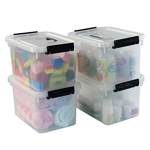 HOMMP 5升清晰储物盒容器,4包装塑料锁定盒,带盖