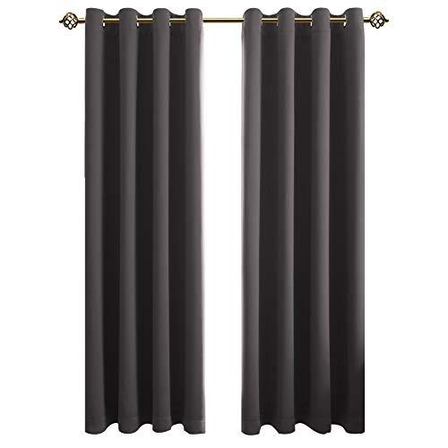FLOWEROOM Blickdichte Gardinen Verdunkelungsvorhang - Lichtundurchlässige Vorhang mit Ösen für Schlafzimmer Geräuschreduzierung Grau 245x140cm(HxB), 2er Set