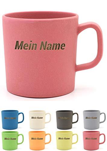 Magu Kaffeebecher mit Henkel mit Namen personalisierte Bambus Namens-Tasse - Individuelle Namensgravur 463 - naturrot