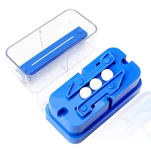 Uooker Pillenschneider Tablettenteiler Multi-Pillen-Splitter-Cutter mit Edelstahl-Schneidklinge und Klingenschutzvorrichtung kann Mehrere Runde Oder Längliche Pillen Gleichzeitig Schneiden (Blau)