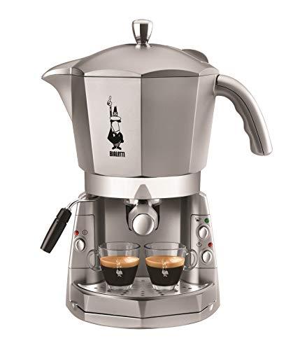 Bialetti Mokona Silver - Macchina Caffè Espresso, Sistema Aperto (per Macinato, Capsule Bialetti e Cialde), Argento