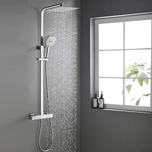 WOOHSE Duschsystem mit Thermostat | Duscharmatur | 3 Strahlarten Handbrause | Kopfbrause Regendusche | Höhenverstellbare Duschstange: 82 – 123CM | Für Dusche& Badezimmer