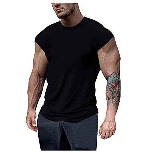 T Shirt Herren Muskelshirts Kurzarm Slim Fit Ärmelloses Rundhals Muskel T Shirts Männer Sportshirt Funktionsshirt Sweatshirt Laufshirt Trainingsshirt