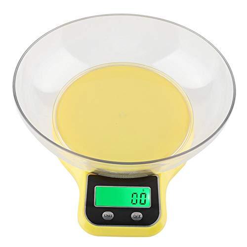 Báscula de cocina digital, WH-B21LW Báscula de cocina de cocina Báscula de peso multifunción de cocina digital con tazón,Balanza de cocina con bol transparente(Amarillo)
