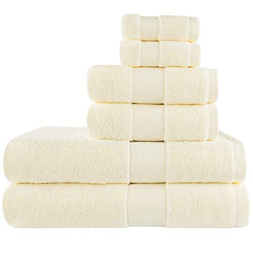 COGNATIO Juego de 6 toallas – 2 toallas de baño, 2 toallas de mano y 2 paños de baño, 100% algodón altamente absorbente para baño, hotel, spa