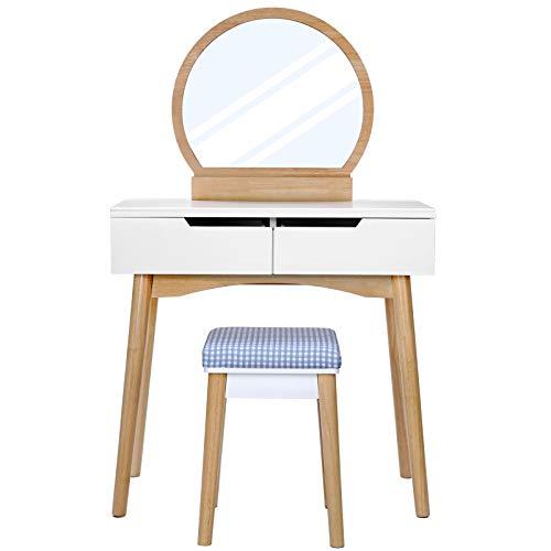 SONGMICS Coiffeuse avec miroir, Table de maquillage moderne, avec tabouret rembourré, 2 grands tiroirs coulissants, 80 x 128 x 40 cm, Blanc et Couleur Boisée RDT11K