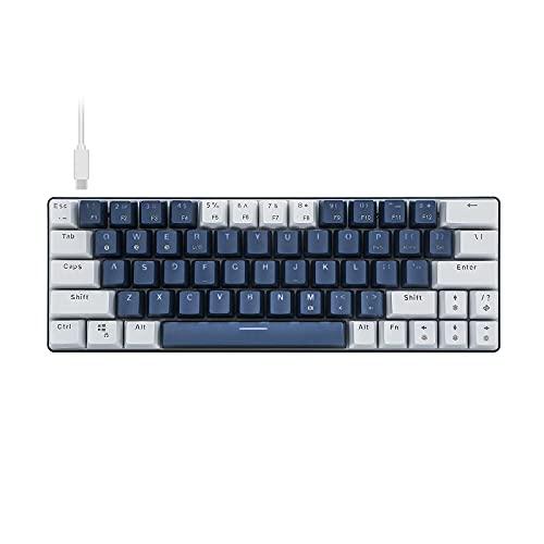 60{1264136af4c279f7ebf09a607ce53a5953ef6bdbbfcf4c4d4e84c536624837f8} Kleine Mechanische Gaming Tastatur, Bluetooth Kabelgebundene 63 Tasten RGB Beleuchtung Rote Schalter für PC IOS, Android, Windows und Mac,Blau Weiß(QWERTY,US-Layout)