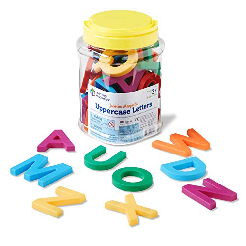 Learning Resources Jumbo Magnetic Uppercase Letters, ABCs, Early Letter Recognition, 40-Pieces, Large Magnetic Letters, Assorted Colors, Ages 3+
