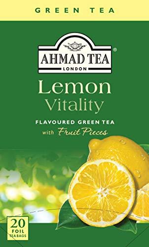 Ahmad Tea Lemon Vitality mit Zitronen-Geschmack 20 Teebeutel mit Band/Tagged, Tee Grüner Tee, 40 gramm