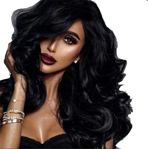 Perruque Sexy Lady Pleine Perruques pour Femmes Noir Big Wave Fiber Naturel Synthétique Bangs Perruques Parfait pour Un Usage Quotidien Dames Fête De Mariage Cosplay Cheveux