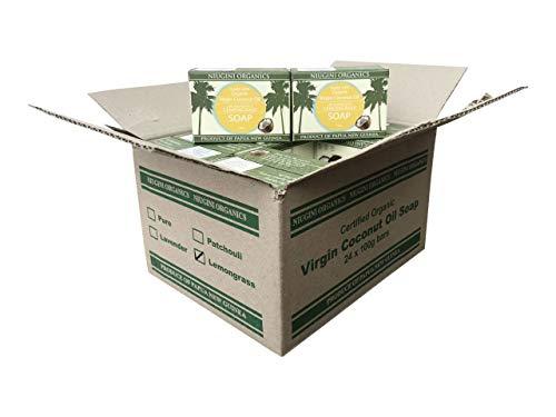 Die Reinste Kokosseife DER WELT Aus 100{730aed23e448545a24fb46f2875f3ca8bf27628ac249aba2621fe2bf16c869da} Bio Kokosöl mit Zitronengras   Vegane Naturseife   Fairtrade   Nachhaltige Produktion   Ohne Palmöl   Zitronengras, 24 x 100g