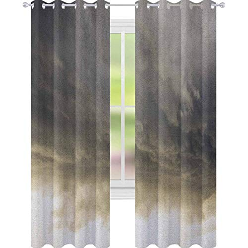 YUAZHOQI Clouds Drape for French Door Heavy Storm Clouds in Dark Sky Hurricane Weather Cloudscape Mass of Liquid Droplets Image Curtains for French Doors 52' x 63' Grey
