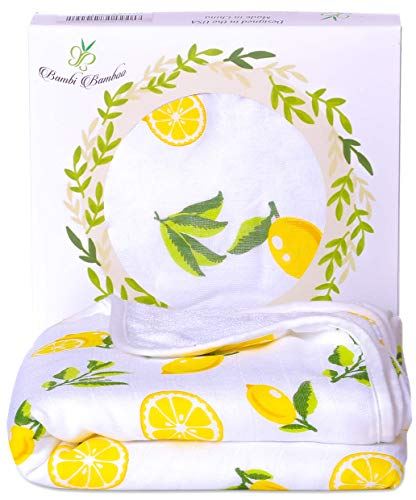 Bambi Bamboo Hooded Baby Bath Towel - Luxury Spa Super Soft for Sensitive Skin - Lemon, 2 Layers, Reversible - Absorbent, Keep Dry&Warm- Your Shower Registry Gift